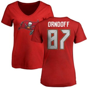 Scott Orndoff Tampa Bay Buccaneers Women's Red Any Name & Number Logo Slim Fit T-Shirt -