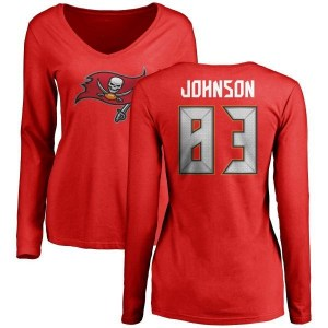 Anthony Johnson Tampa Bay Buccaneers Women's Red Any Name & Number Logo Slim Fit Long Sleeve T-Shirt -