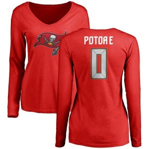 Benning Potoa'e Tampa Bay Buccaneers Women's Red Name & Number Logo Slim Fit Long Sleeve T-Shirt -