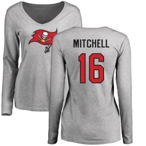 Bryant Mitchell Tampa Bay Buccaneers Women's Name & Number Logo Slim Fit Long Sleeve T-Shirt - Ash