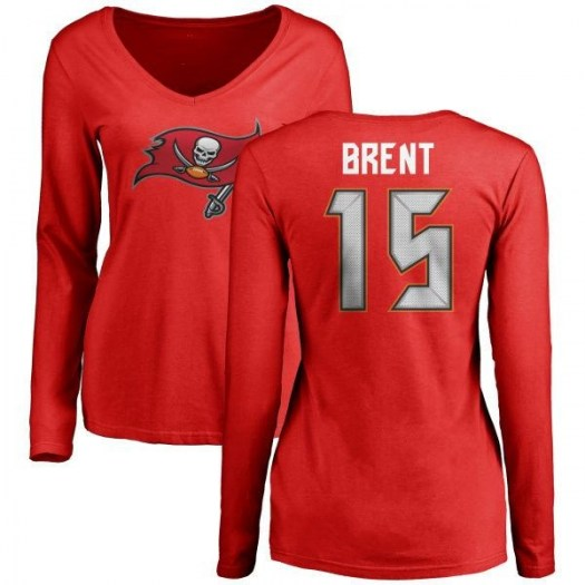 K.J. Brent Tampa Bay Buccaneers Women's Red Any Name & Number Logo Slim Fit Long Sleeve T-Shirt -