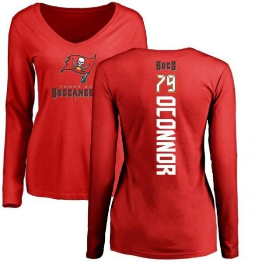 Pat Oconnor Tampa Bay Buccaneers Women's Red Backer Slim Fit Long Sleeve T-Shirt -